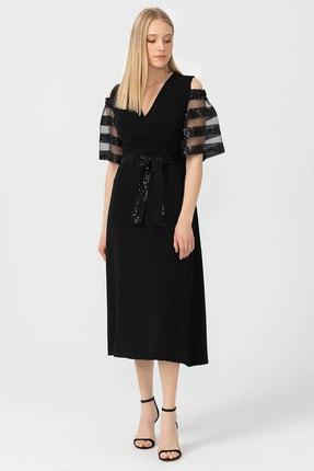 Seçil Kolları Tüllü Kemerli Elbise - 3525 Siyah