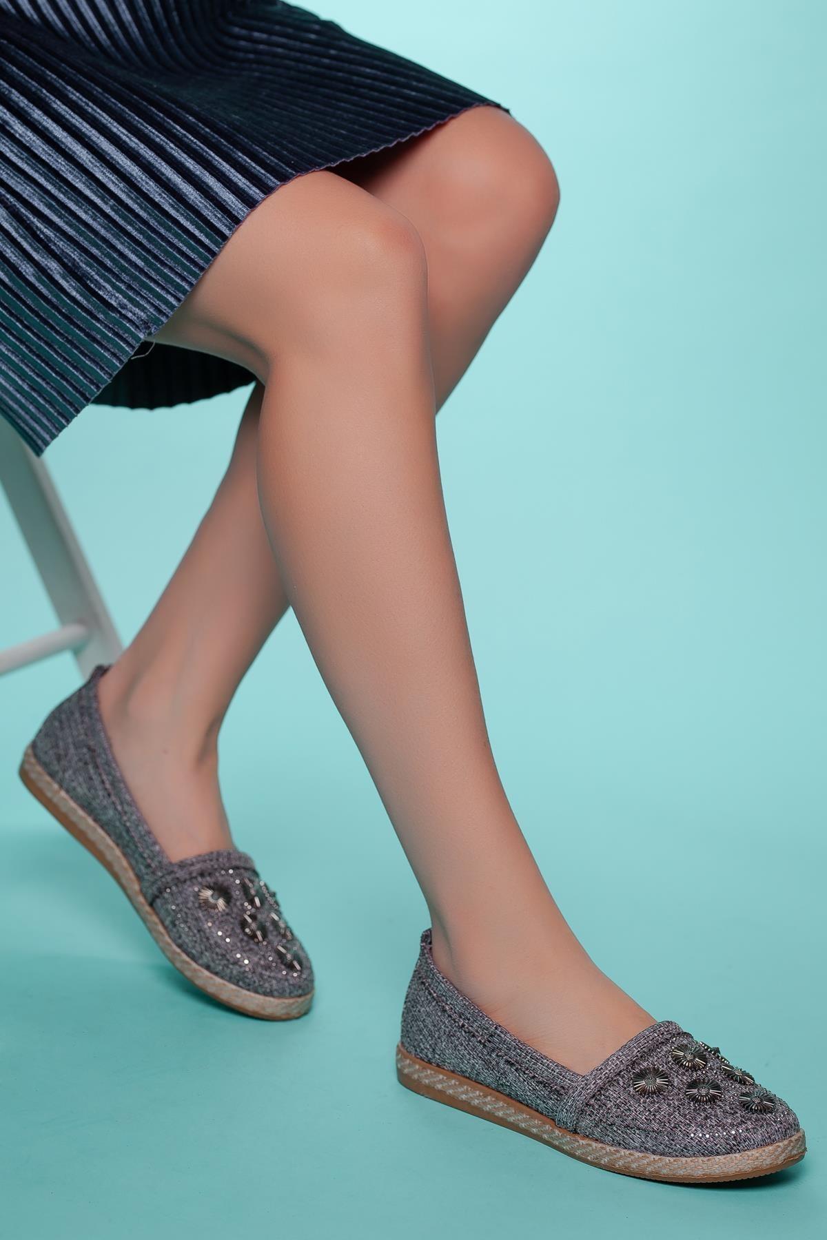 Muggo Kadın Gri Babet Ayakkabı