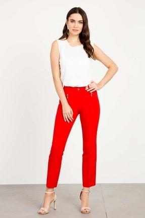 Moda İlgi Kadın Fermuar Cepli Dar Paça Pantolon Kırmızı