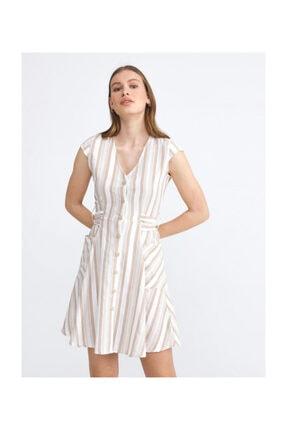 XINT Kadın Bej Rahat Kesim Cepli Çizgili Keten Elbise 285682