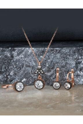 Else Silver Elmas Montürü Gümüş Tek Taşlı Takı Seti