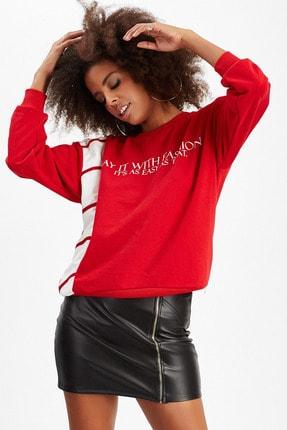Manche Kırmızı Baskılı Kadın Sweatshirt | MK20W274764