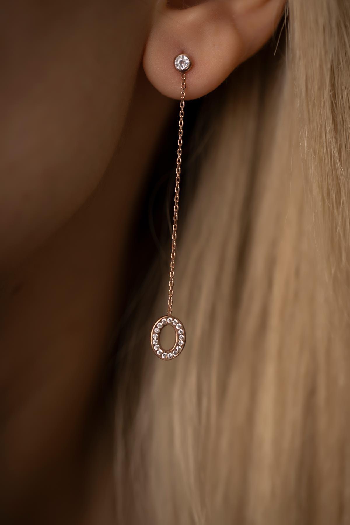 İzla Design Kadın Oval Sallantılı Rose Kaplama Gümüş İtalyan Küpe PKT-TLYSLVR0456