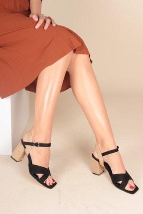 İnan Ayakkabı Siyah Süet Kadın Klasik Topuklu Ayakkabı INA1348