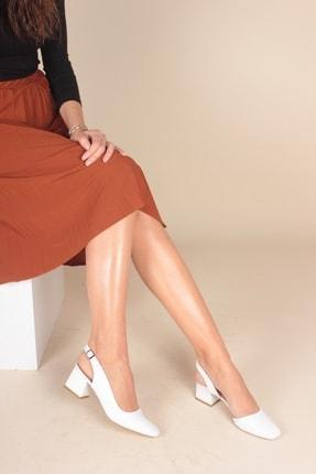 İnan Ayakkabı Beyaz Cilt Kadın Klasik Topuklu Ayakkabı INA1903