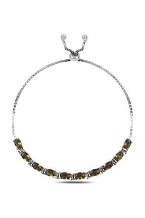 Silverella Gümüş 925 Ayar Oval Sultanit Taşlı Suyolu Asansör Bileklik