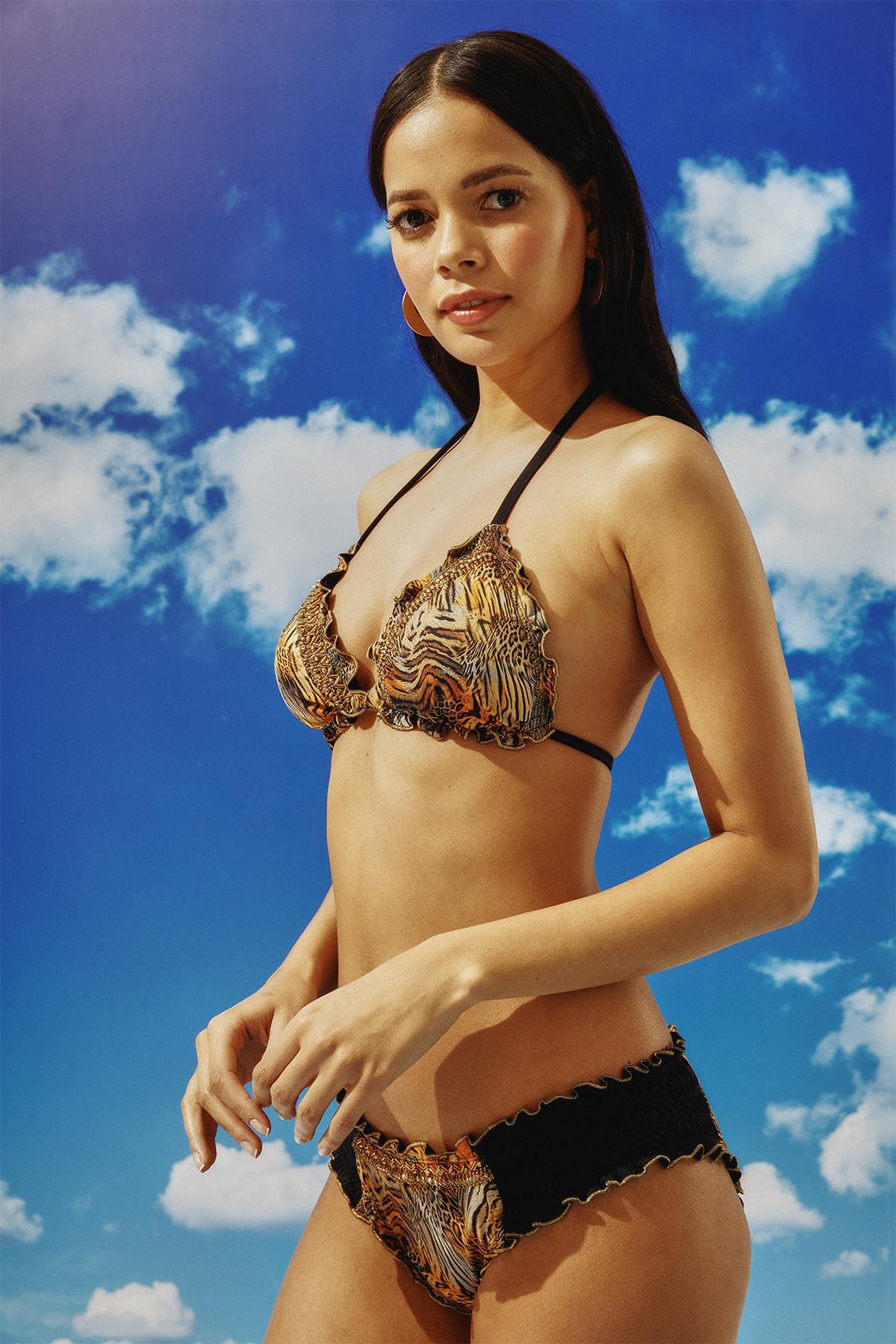 BONESTA Kadın Desenli Boncuk İşlemeli Üçgen Bikini