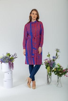 Olcay Kadın Beli Kuşaklı Desenli Tunik