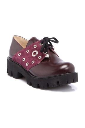 Tergan Bordo Deri Kadın Ayakkabı 63049A36