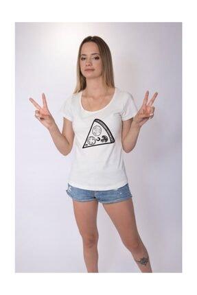 Angemiel Unisex Wear Sevgili Kombini Pizza Dilimi Pamuklu Beyaz Sevgili Tişört