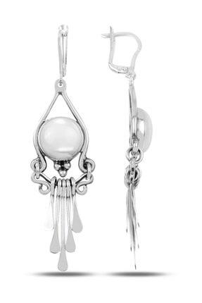 Silverella Gümüş 925 Ayar Sedef Taşlı Ve Sallantılı El Işi Küpe