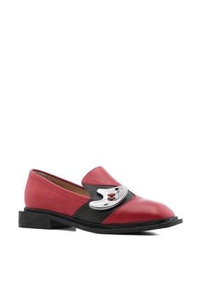 İlvi Adamina Kadın Makosen Ayakkabı Kırmızı Deri Adamina-LV673.1253