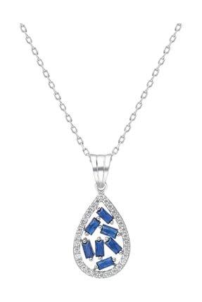 Chavin Baget Mavi Taşlı Rodyum Gümüş Kolye Ef72by