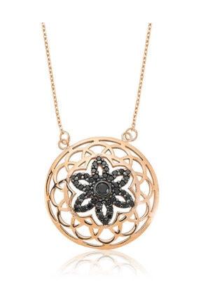 Silverella Gümüş Siyah Yaşam Çiçeği  Kolye
