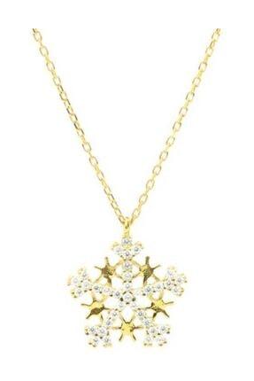 Nusret Takı 925 Ayar Gümüş Yıldızlı Kar Tanesi Kolye, Pembe - Beyaz Taş