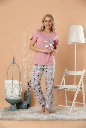 STRAWBERRY Kadın Pudra Pamuklu Baskılı Pijama Takım