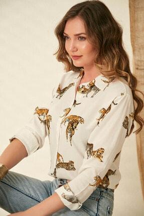 Morpile Kadın Beyaz Baskili Gömlek A1516