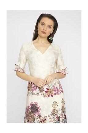 Chima Kadın Fusya kolu Volanlı Elbise Y19El173