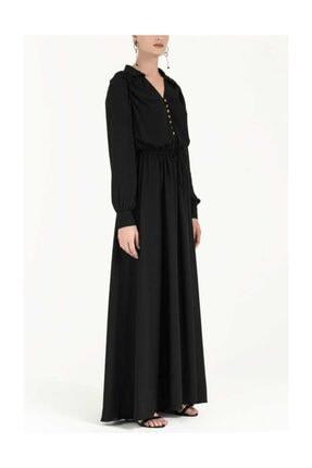 Societa Omuzları Büzgülü Düğmeli Uzun Elbise Siyah 92251