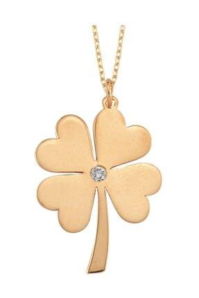 Altın Sepeti Pırlantalı Rose Gold Yonca Kolye
