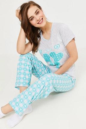 Eka Kadın Kalp Baskılı Kısa Kol Pijama Takımı