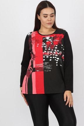 Şans Kadın Siyah Pamuklu Kumaş Önü Baskılı Bluz 65N15570