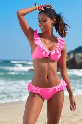 No Gossip Kadın Fırfır Detaylı Bikini  Alt 209202 Neon Pembe