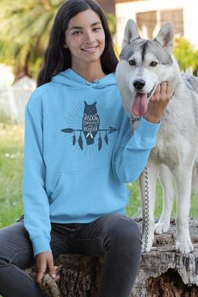Angemiel Wear Black Wıngs Baykuş Mavi Kadın Kapüşonlu Sweatshirt Çanta Kombin