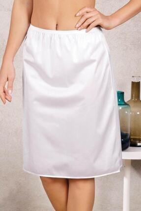Kadın Beyaz Uzun Polyester Klasik Jüpon Kombinezon ELF568ANIL0616CCM