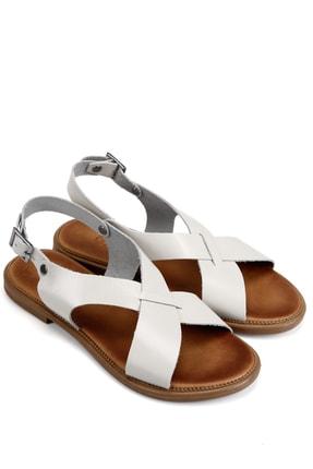 GÖN Hakiki Deri Beyaz Kadın  Sandalet 35136