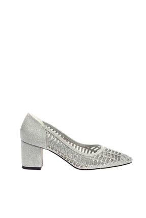 Gümüş Rengi Simli Kadın Topuklu Ayakkabı 430-1510