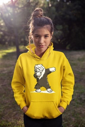 Angemiel Wear Dog Sarı Kadın Kapüşonlu Sweatshirt