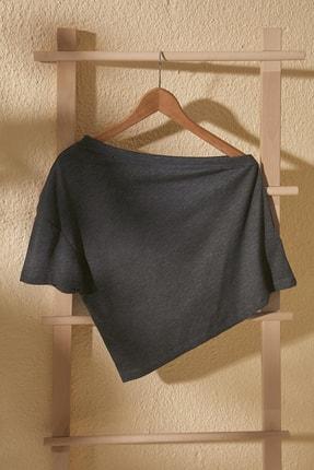 TrendyolMilla Antrasit Tek Kollu Örme Bluz TWOSS20BZ1390
