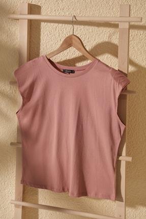 TrendyolMilla Gül Kurusu Vatkalı Basic Örme T-Shirt TWOSS20TS1553