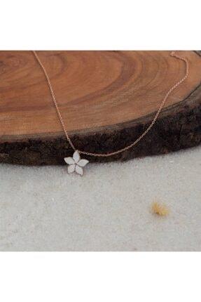 SilverPlus Mineli Çiçek Figürlü Zirkon Taşlı Rose Gümüş Kadın  Kolye