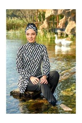 ESTİVA Kadın 2'li Tam Kapalı Mayo Battal Çapraz Çizgi Desenli Siyah 48