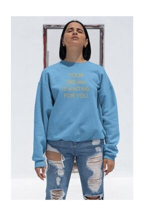 Angemiel Kadın Wear Your Dream Is Wating For You  Mavi Sweatshirt