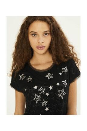 XINT Kadın Siyah T-shirt - 19YB02601481-01