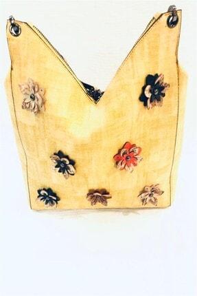 Gio & Mi O Sarı Çiçekli Suni Deri Omuz Çanta