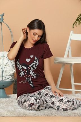 Elitol Kadın Bordo Baskılı Pamuklu Likralı Pijama Takım
