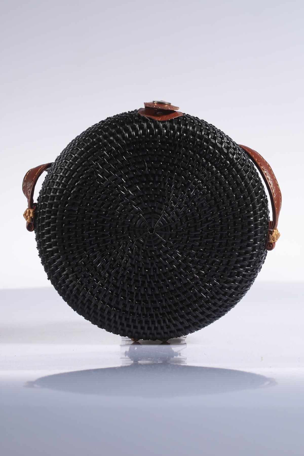 Sergio Giorgianni Kadın Siyah Hasır Omuz Çantası sghsr1023-siyah