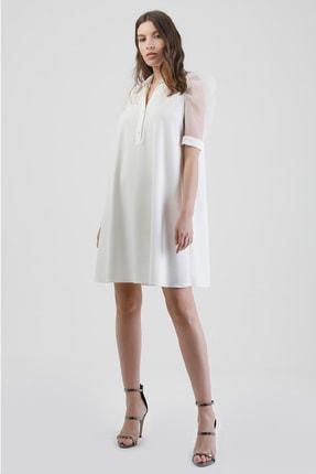 Lefon Kadın Beyaz Kolları Organze Elbise