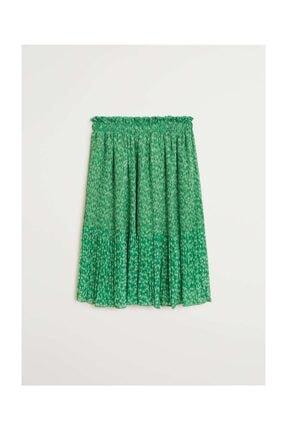 Kadın Yeşil Pilili Çiçekli Etek 67097661