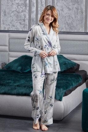 Pamuk & Pamuk Şal Yaka Biyeli Bahar Çiçekli Saten  Kadın  Pijama