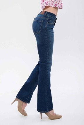 Madmext Mad Girls Lacivert İspanyol Paça Kadın Jean MG269
