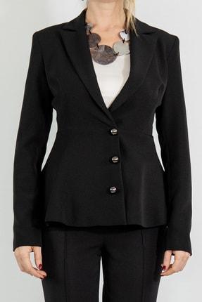 Lefon Kadın Siyah Bel Volanlı Blazer