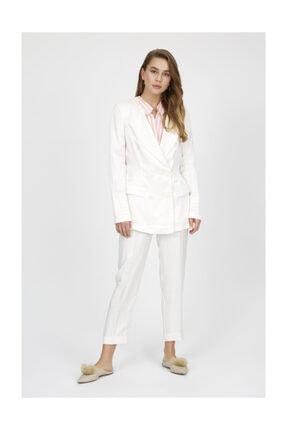 Setre Vanilya Mono Yaka Uzun Kol Parlak Kumaş Blazer Ceket Kalem Pantolon Takım