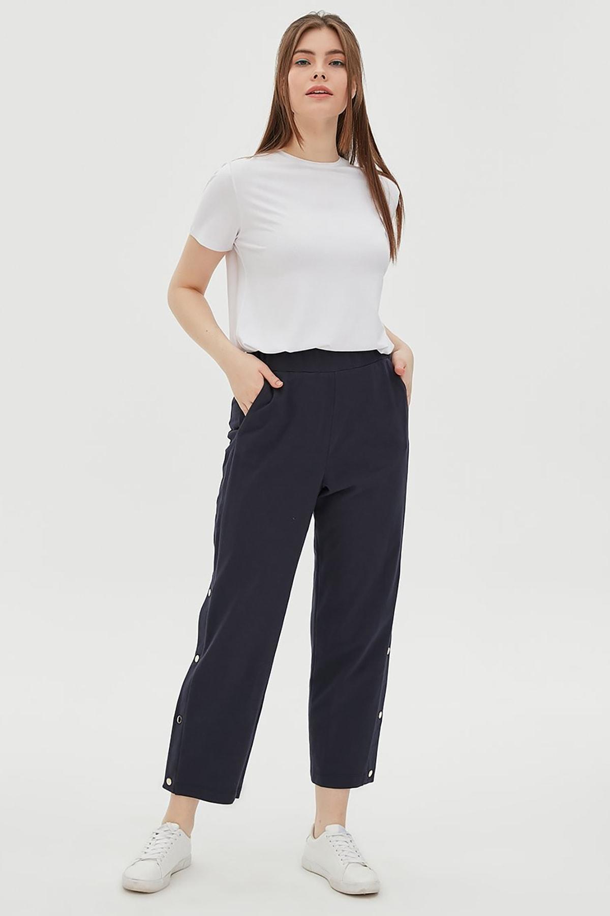 Kayra Kadın Yandan Çıt Çıt Detaylı Pantolon Lacivert B20 19044