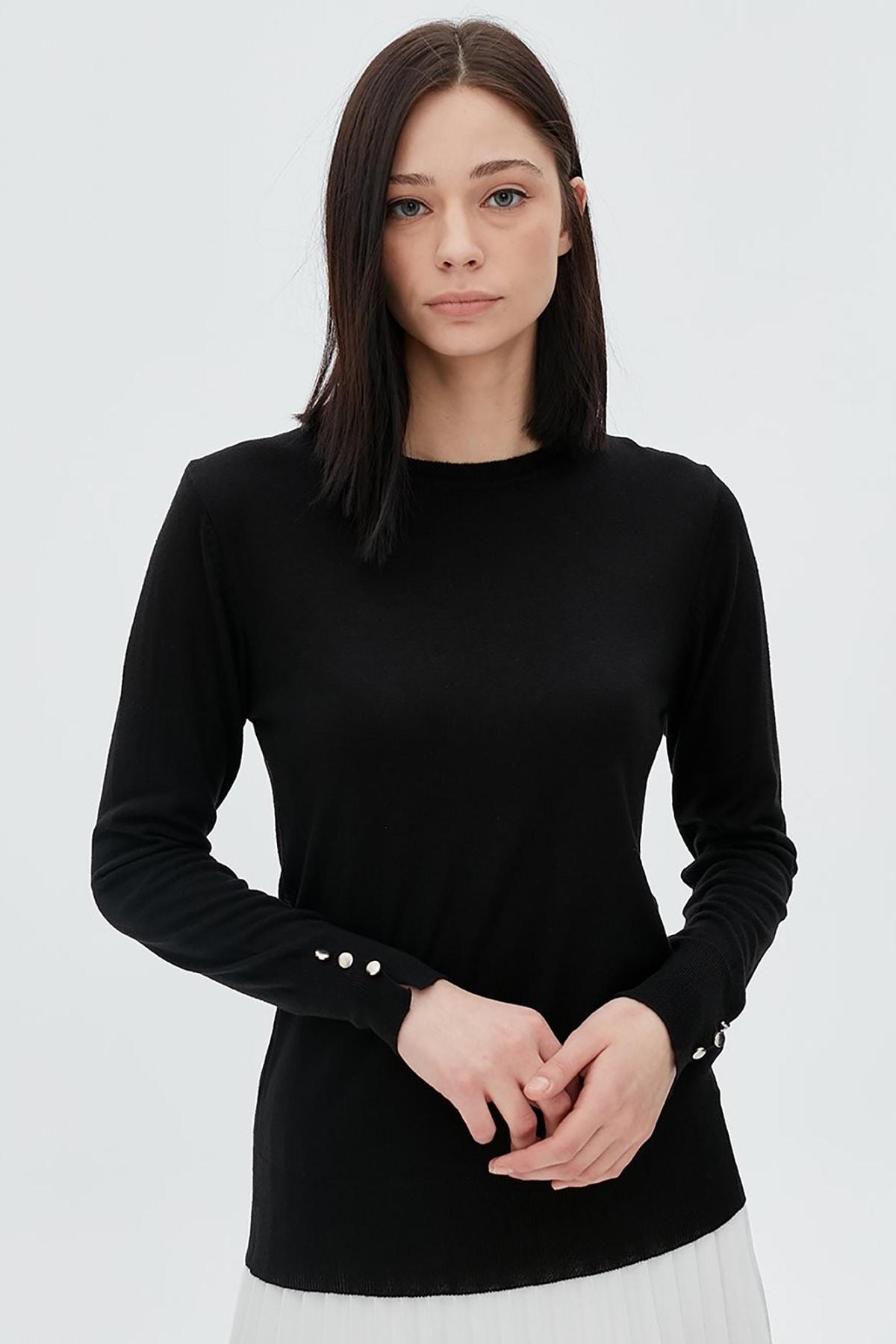 Kayra Kadın Kolları Düğme Detaylı Triko Bluz Siyah B20 Trk05