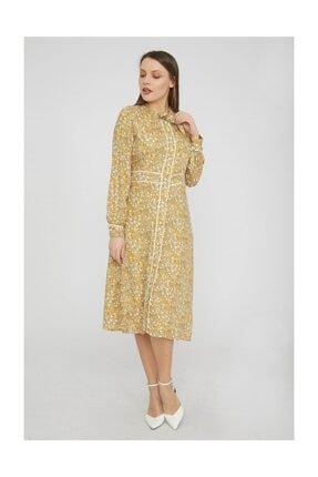 Chima Kadın Sarı Fiyonklu Uzun Kol Elbise Y19EL068